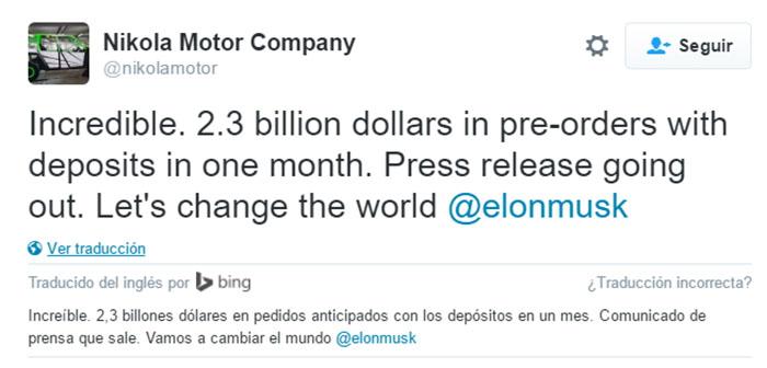 Tweet Nikola Motors y traducción