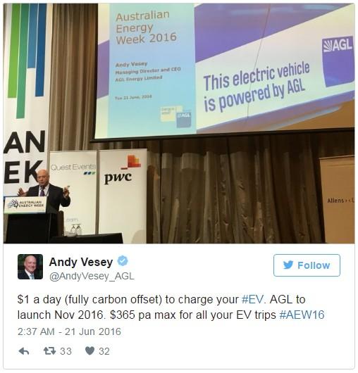 Tweet de Andy Vesey, CEO de AGL