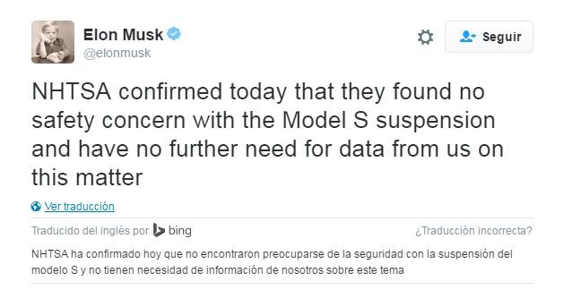 Tweet de Elon Musk sobre las conclusiones de la NHTSA