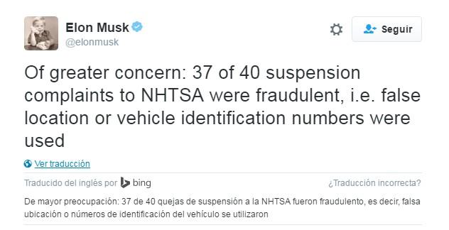 Tweet de Elon Musk sobre los casos de reclamaciones de suspensiones