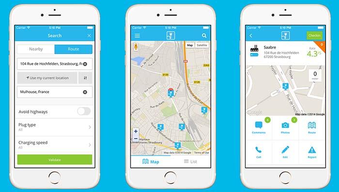 Capturas de la aplicación para dispositivos móviles de ChargeMap