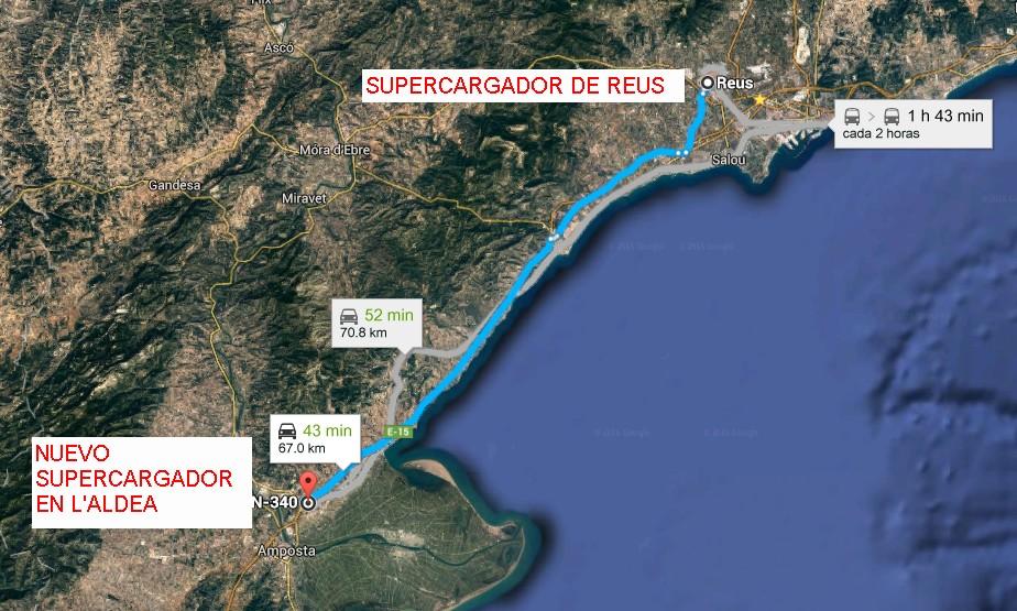 El nuevo supercargador está a 70 kilómetros del situado en Reus