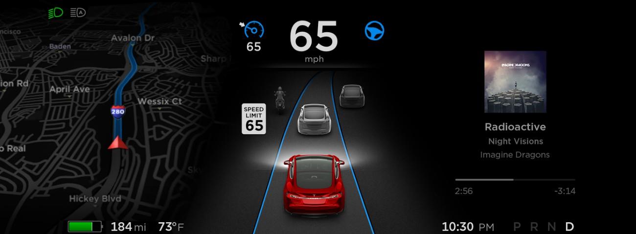 Sistema de monitorización del Autopilot en el tablero de mandos del Model S