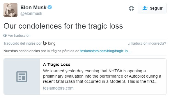 Tweet de condolencia de Elon Musk