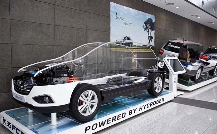 Componentes del sistema de pila de combustible en el Hyundai Tucson