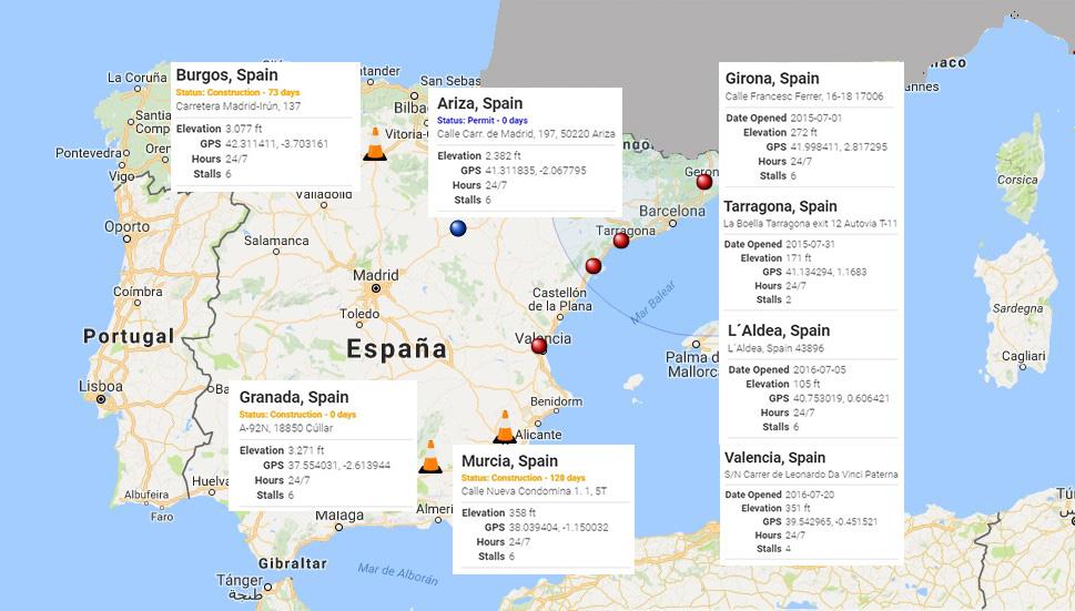 Mapa de estado de supercargadores en España - septiembre 2016l