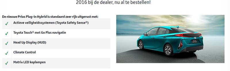 Pricipales equipamientos del Prius Plug-in Hybrid en Holanda