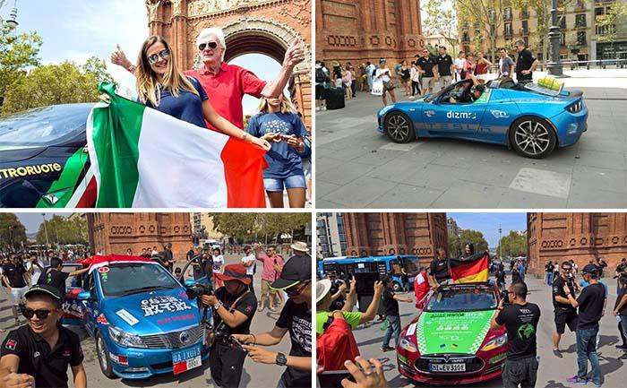 Celebración de la llegada de los 80eDays al Arco del Triunfo de Barcelona
