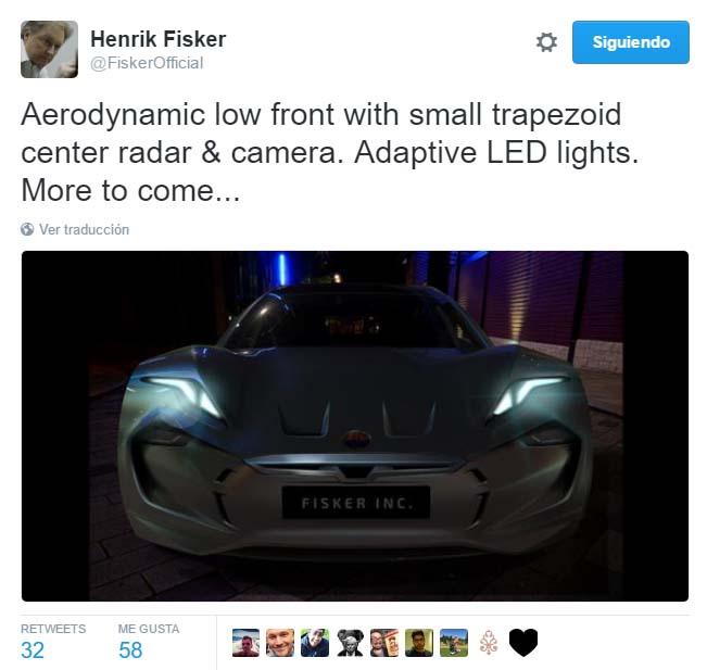 Tweet en el que se revela la parte frontal del nuevo coche eléctrico de Fisker