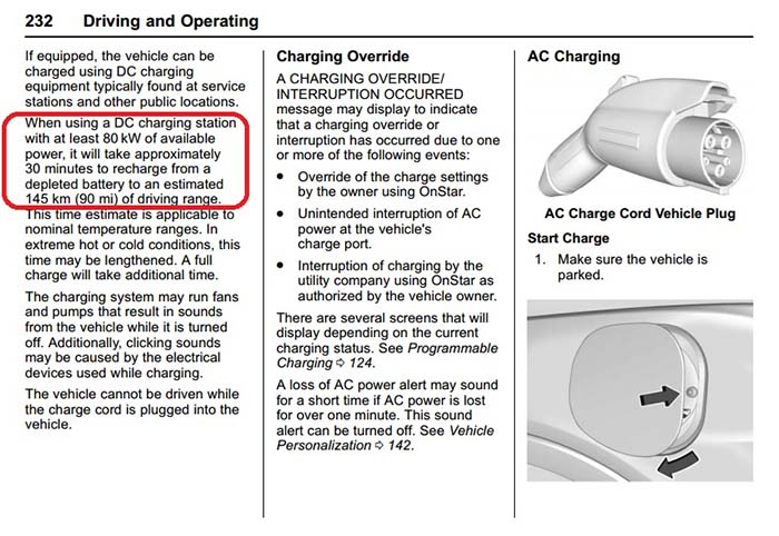 Manual del Chevrolet Bolt-Potencia de carga en modo 4