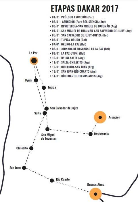 Mapa del recorrido del Dakar 2017