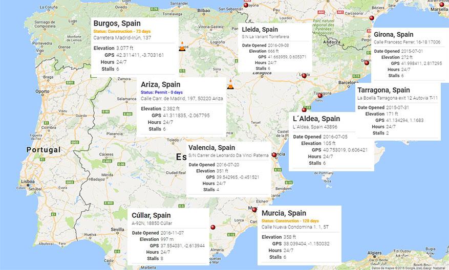 Mapa general de supercargadores