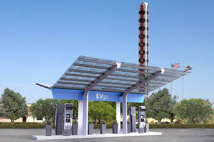 Render de la primera estación de recarga a 350 kW de potencia