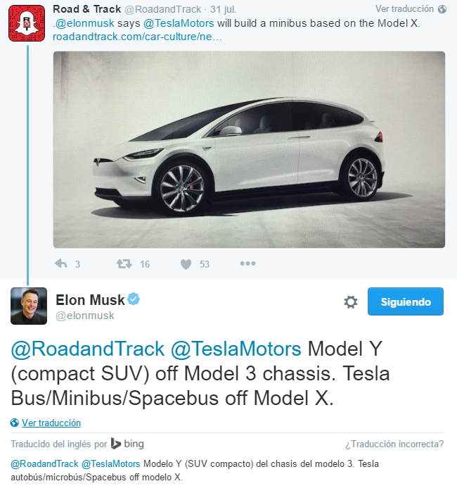 Tweet de Elon Musk refiriéndose al Model Y