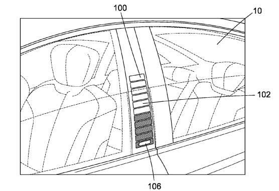 Dibujo de la patente para mostrar el estado de la batería en el pilar B de los coches eléctricos