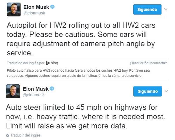 Tweet de Elon Musk anunciando que Tesla actualiza el Autopilot 2.0 a todos los coches