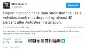 Tweet traducido de Elon Musk sobre el descenso de la tasa de accidentes gracias al Autopilot