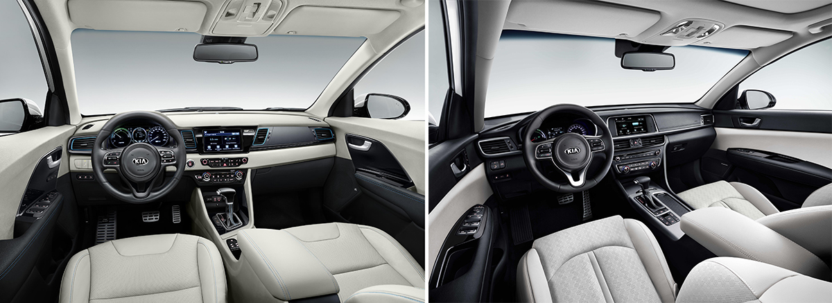 A la izquierda interior del Kia Niro PHEV. A la derecha interior del Kia Optima PHEV