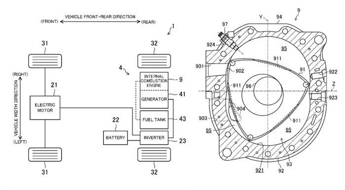 Patente del motor rotativo extensor de rango de Mazda