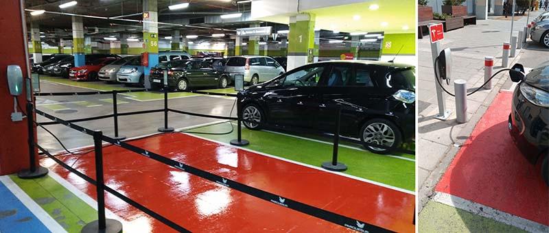 Puntos de recarga de Tesla en el Centro Comercial ParqueSur de Madrid