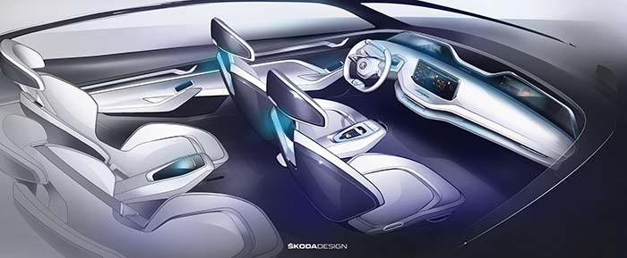 Interior del Skoda Vision E concept