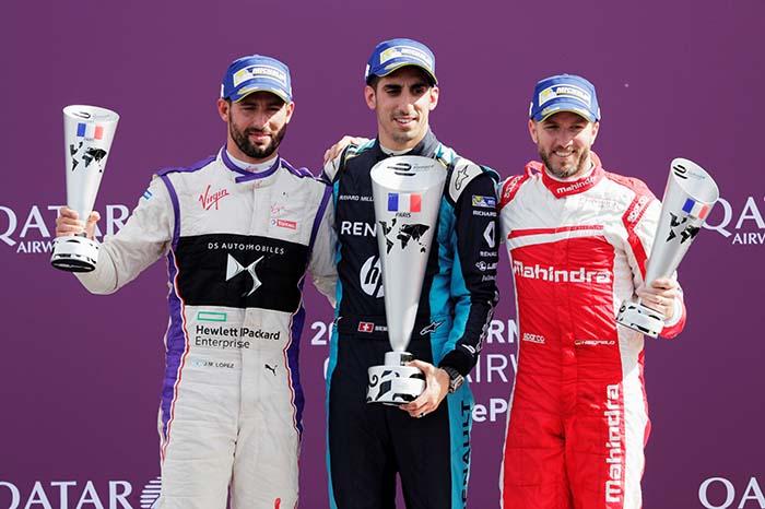 Pódium del ePrix de París - Buemi, Jose María López y Heidfeld