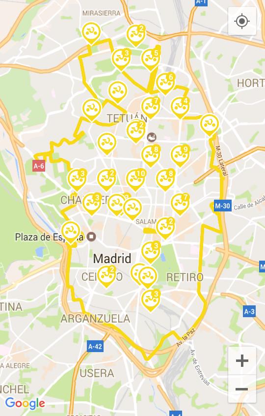 Área de utilización del motosharing de Muving en Madrid