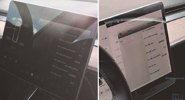 Pantalla de 15 pulgadas del Model 3. Can BUS