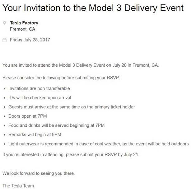 Condiciones de la invitación al evento del Tesla Odel 3 del 28 de julio