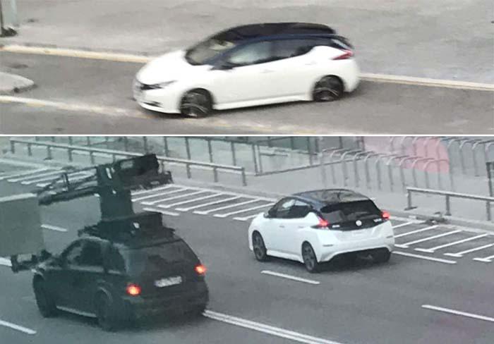Nuevo Nissan Leaf durante la grabación del anuncio publicitario