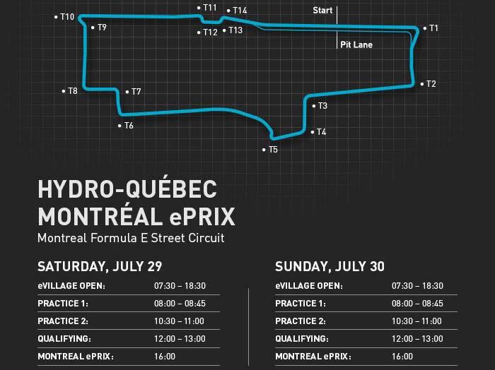 Programa del Montreal ePrix, hora local (6 horas más en España)