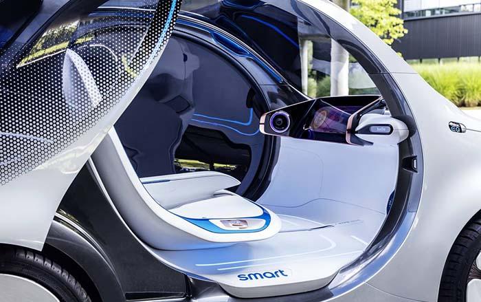 Interior de la cabina del Smart ForTwo Vision EQ