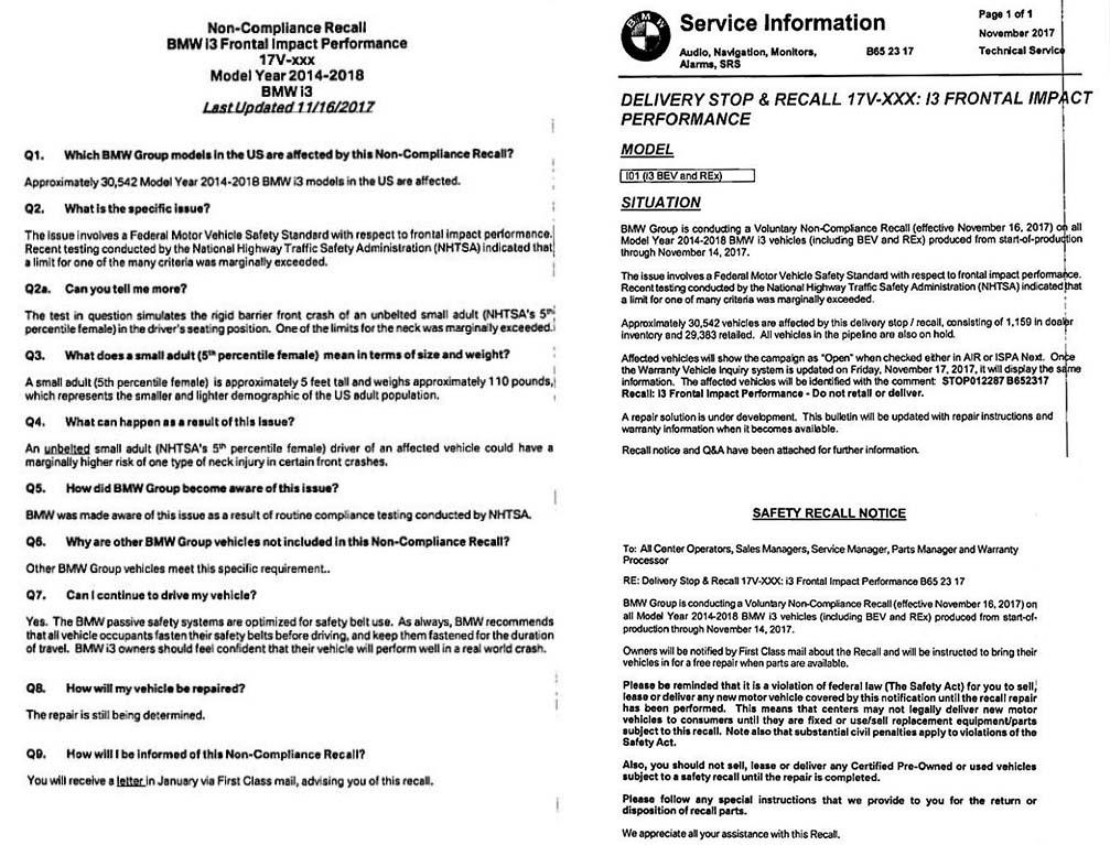 Informes de seguridad de la NHTSA y de BMW
