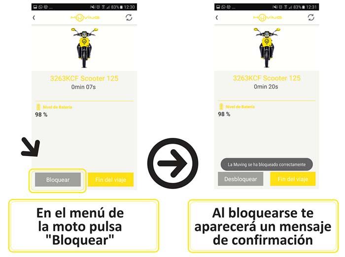 Para poder mantener la reserva y el alquiler de a moto eléctrica durante esta pausa hay que seleccionar la opción Bloquear dentro de la app