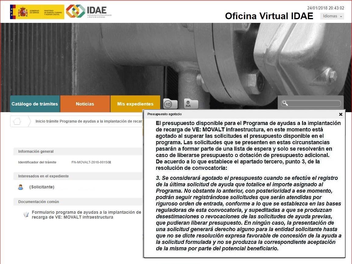 Página web del IDAE. Plan Movalt Infraestructura