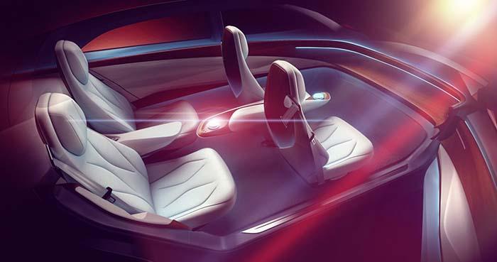 El interior del Volkswagen ID VIZZIONT especialmente adaptado para la conducción autónoma