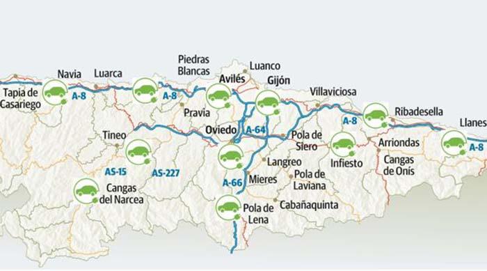 Red básica de recarga en Asturias