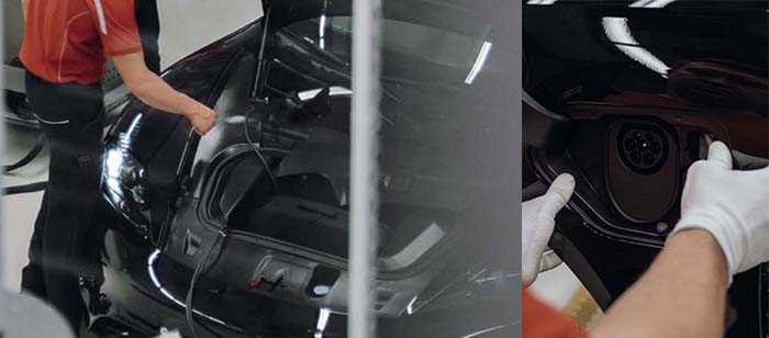 Maletero y puerto de carga del Porsche MIssion E