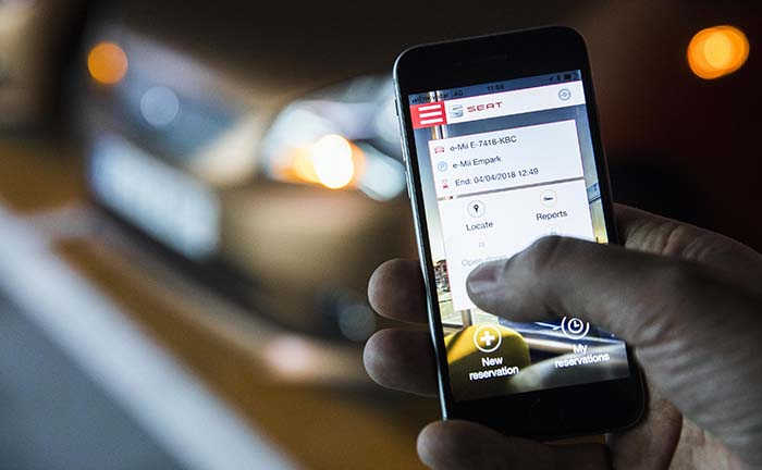 Aplicación móvil del carsharing eléctrico del SEAT eMii