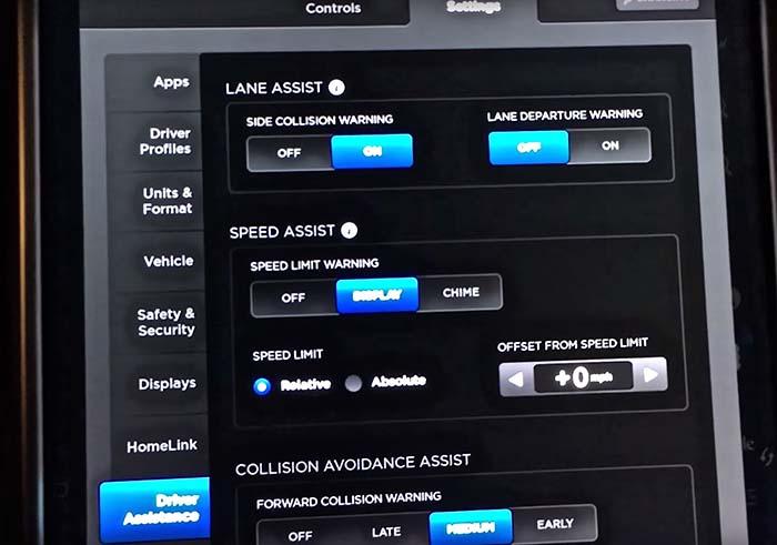 Configuración de los parámetros del Autopilot de Tesla en un Model X