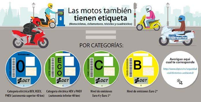 Etiquetas medioambientales para motos y ciclomotores