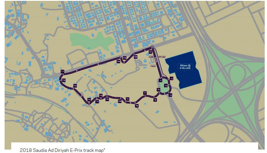 Circuito del Saudia Diriyah Fórmula E Prix