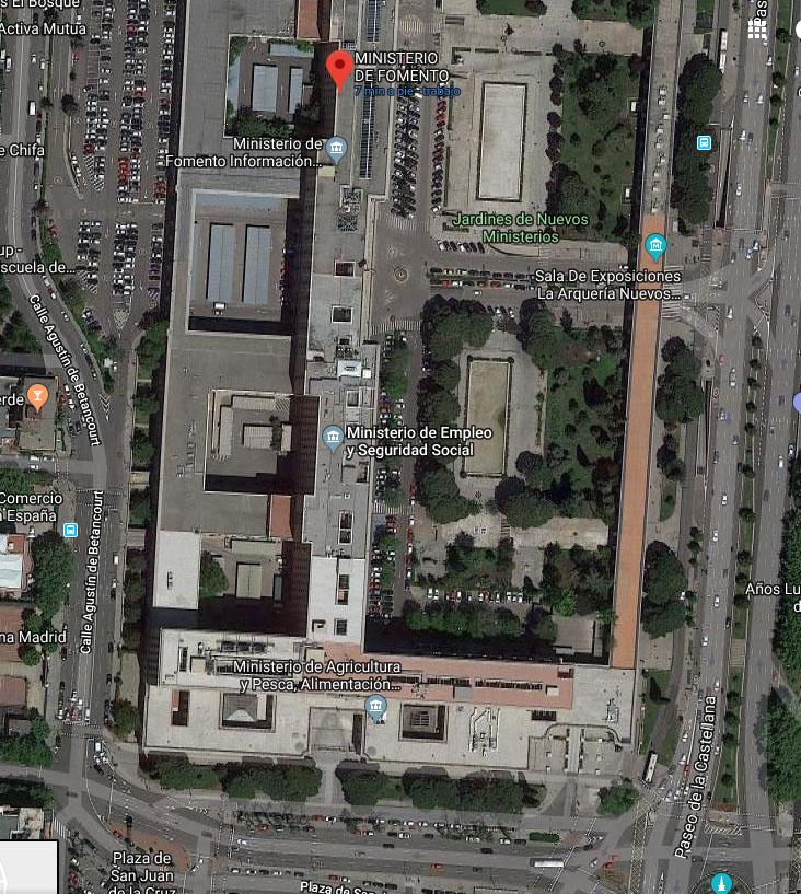 Zona sur del complejo de Nuevos Ministerios de Madrid, sede del Ministerio para la Transición Ecológica, entre otros.