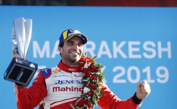 Jérôme d'Ambrosio (BEL), Mahindra Racing, celebra sobre el podio su primera victoria en la Fórmula E