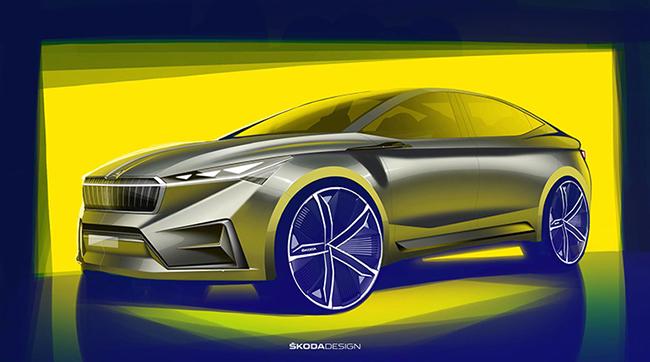 La  banda de luz de la parrilla será un distintivo de los vehículos eléctricos de ŠKODA
