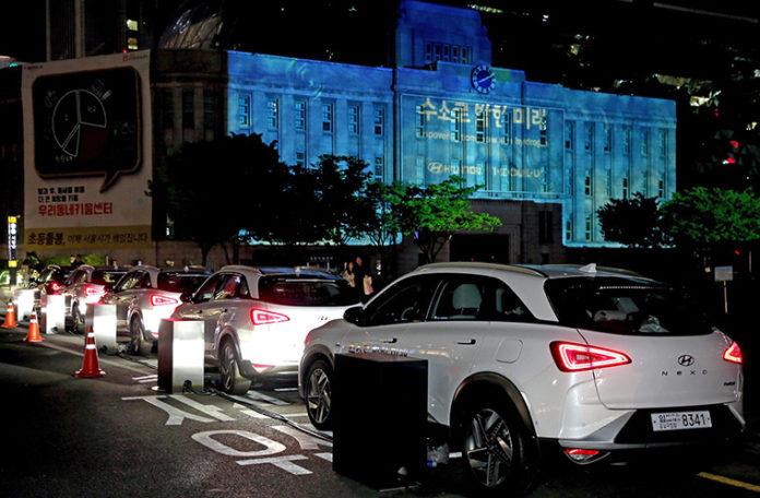 Hyndai Nexo 2019 de hidrógeno para el Día de la Tierra en Seúl.