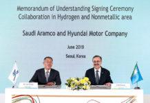 Acuerdo para impulsar el hidrógeno de Hyundai y Saudi Aramco,.