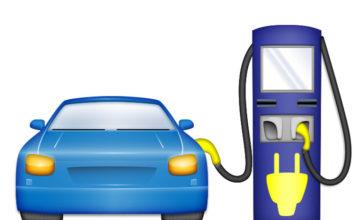 Emoji de vehículo eléctrico con cargador. Propuesta de Electrify America.