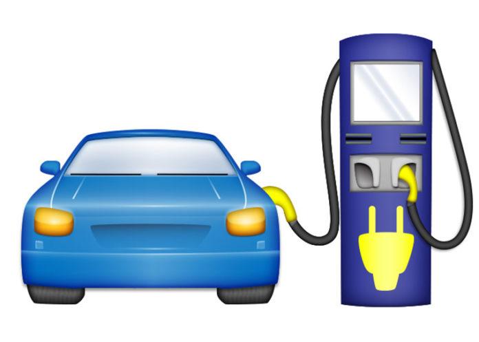 Emoji de vehículo eléctrico con cargador.