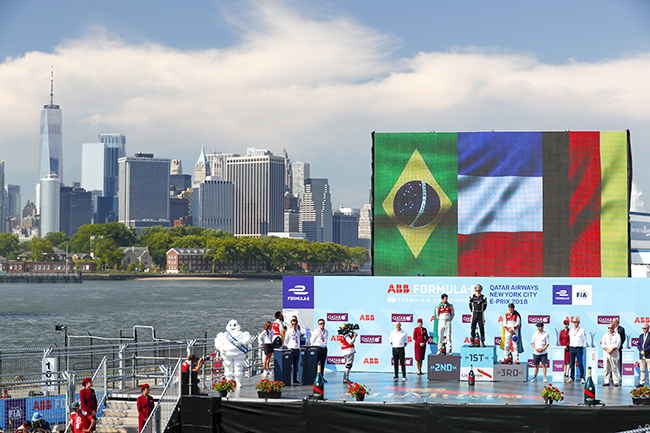 El podio del año pasado en Nueva York. Jean-Eric Vergne (FRA), Lucas Di Grassi (BRA) y Daniel Abt (GER).